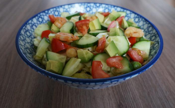 Salade met spitskool, boontjes en garnalen - Happy Mood Happy Food