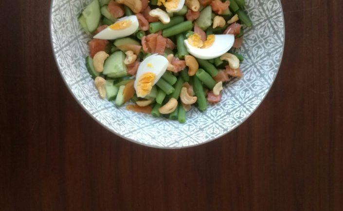 Salade met sperziebonen, zalm en ei - Happy Mood Happy Food